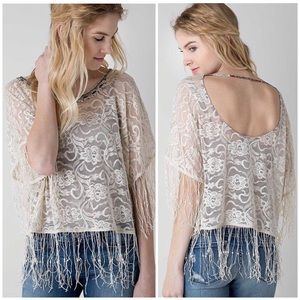 GIMMICKS By BKE Cream Lace Fringe Blouse Size S